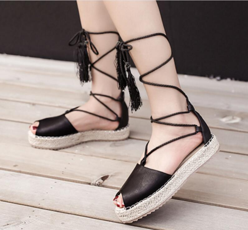 ladies summer sandals women flats footwear woman casual wedge shoes cross-tied lace up chaussure Zapatos Mujer peep toe F180080 2016 hot low top wrinkled skin cockles trainers kanye west chaussure flats lace up mens shoes zapatos mujer casual shoes