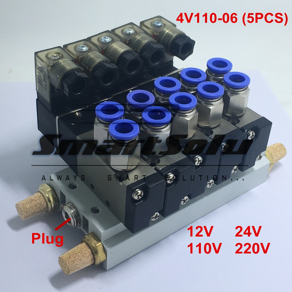 Free shipping 1 Set 5 Way 1/8 bsp 4V110-06 Quintuple Solenoid Valve Electromagnetic Valves Suit Connect Muffler Fitting Base free shipping triple solenoid valve 4v210 08 2 position base muffler connect 6mm 8mm quick fitting valves set 1 4 bsp
