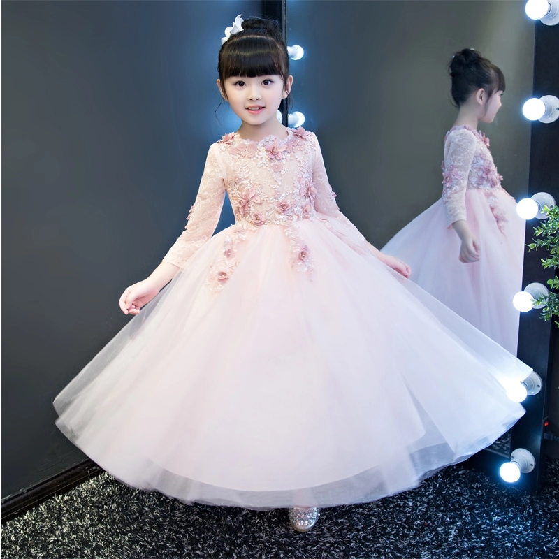 2017 Long Sleeve Flower Girls Dresses For Wedding Pink Lace Girl Formal Birthday Party Dress Princess