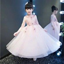 509911458 2017 de manga larga flor Niñas Vestidos para la boda Rosa Encaje formal  fiesta de cumpleaños princesa vestido niños vestido de o.