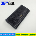 Real Genuine Leather Women Wallets Clutch Floral Embossed Brand Design Cell phone Card Holder Long Lady Wallet Purse Clutch