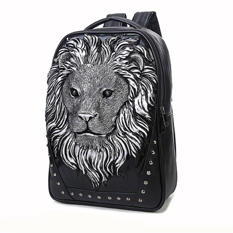 Punk Backpack Head-Design Animal Computer-Bag Cool Travel Good-Quality 3D Male