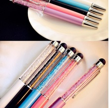 2015Newest design Diamond touch pen Crystal pens ball Office school Promotion gift Free customized any LOGO of your company