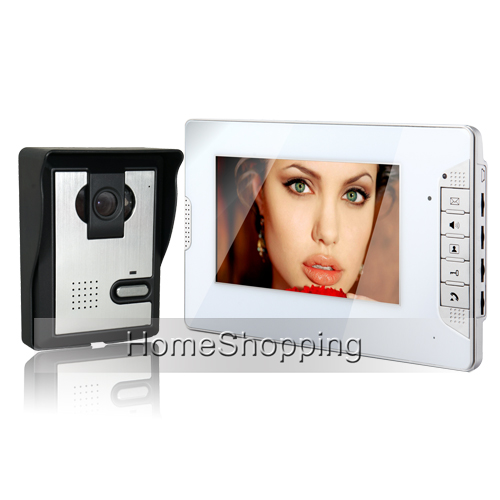 Brand New Wired 7 inch Color Screen Video Door Phone Intercom Door bell System 1 White Monitor Door Camera FREE SHIPPING SALE brand new 7 inch color screen video doorphone sperakerphone intercom system 1 monitor 700tvl coms camera free shipping