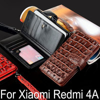 For Xiaomi Redmi 4A Case Luxury Crocodile Snake Leather Flip Cover Card Slot Business Wallet Case