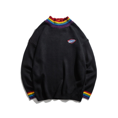 Rainbow Collar Pullover Men's Sweater 2018 Winter Loose Style Sweater for Men High Street Sweaters Black White