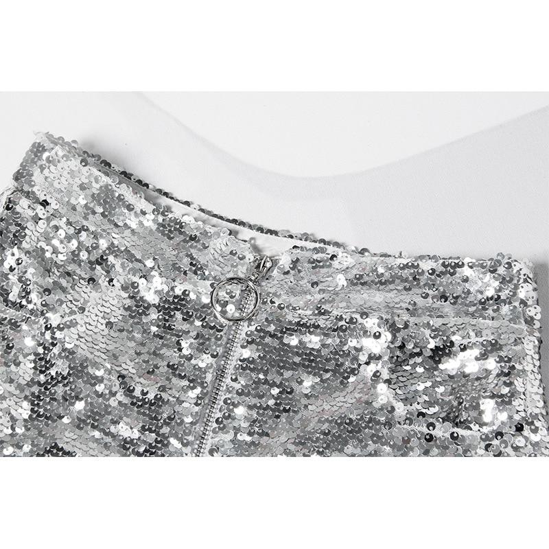 Sequin High Waist O-ring Zip Bodycon Shorts