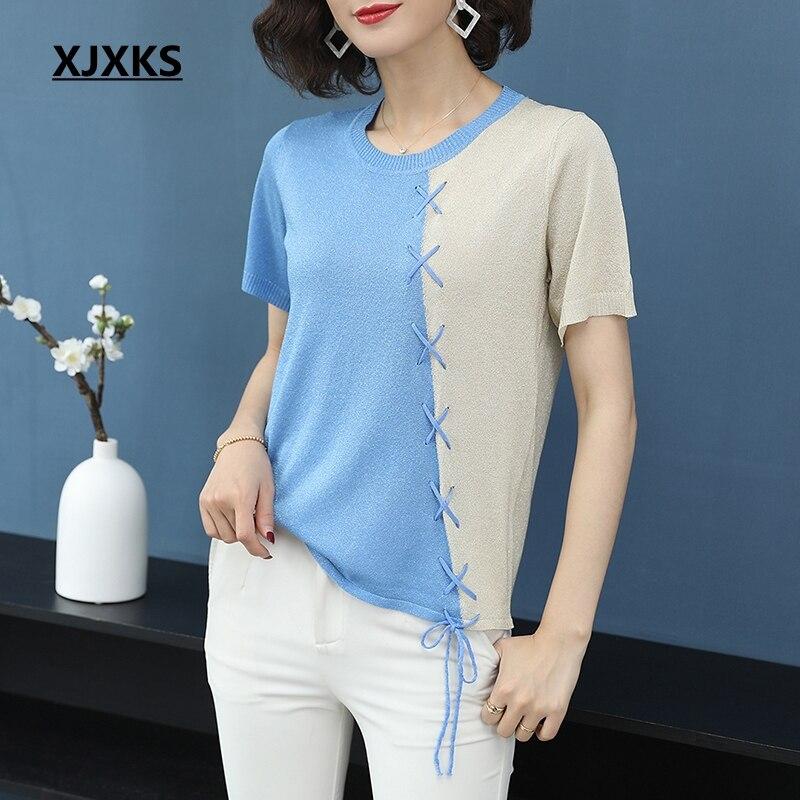 XJXKS Modis Summer Tops Casual Comfortable Young Women Tee Shirt Femme Short Sleeve Knitting Soft Elegant Splice Women T shirts