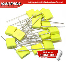 40PCS Correction capacitor 100NF 104J 100V 5mm Polypropylene Safety Plastic Film Capacitor New original