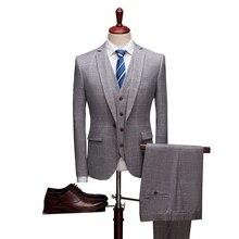Plaid Suit Jacket Men Top Quality Slim Business Suits (Blazers+Vest+Pant) 3 pieces Wedding Party Groom Set
