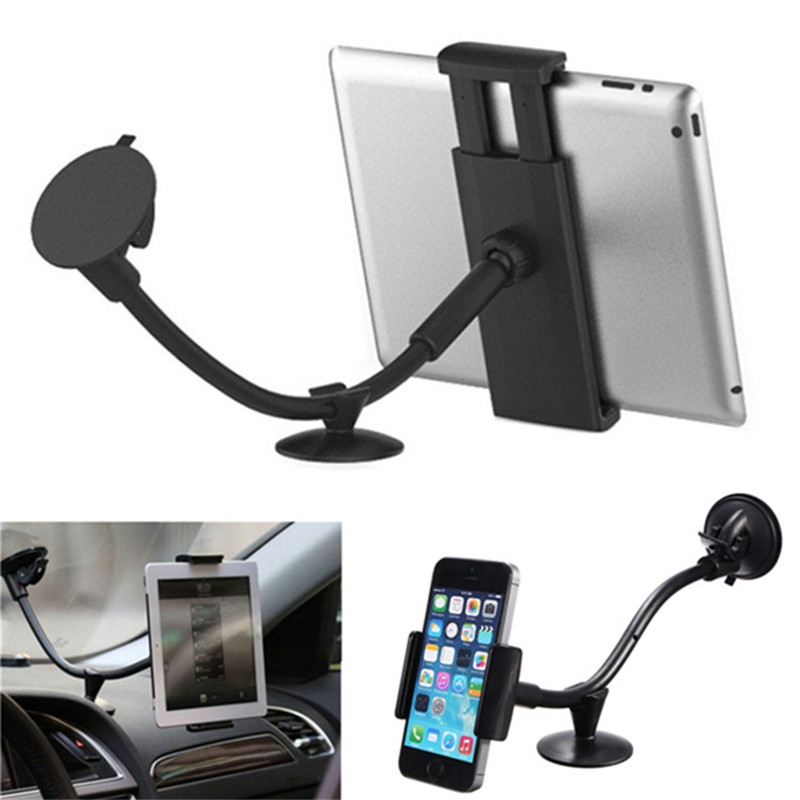 10″ 2 in 1 Universal Long Arm Phone Holder, Car Windshield Window Mount Holder For iPhone 5S 6 7 Plus Samsung Phone and Tablet