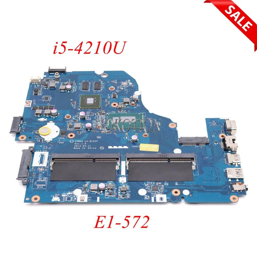 NOKOTION Z5WAH LA-B162P NBMLC11004 NB.MLC11.004 Main board For acer aspire E1-572 laptop motherboard i5-4210U NVIDIA 840M works