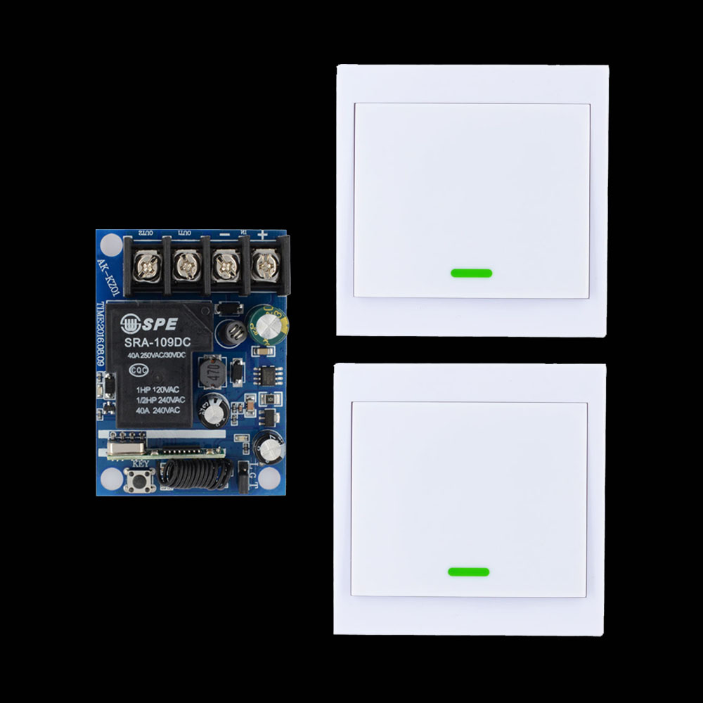 12V 24V 36V 48V Relay Receiver 40A RF Remote Control Switch + Wall Panel Remote Transmitter ASK Learning Code 315Mhz/433.92Mhz dc 12v 24v 36v 48v wireless remote control switch 40a relay receiver 86 wall transmitter learning code 315 433 92 mhz