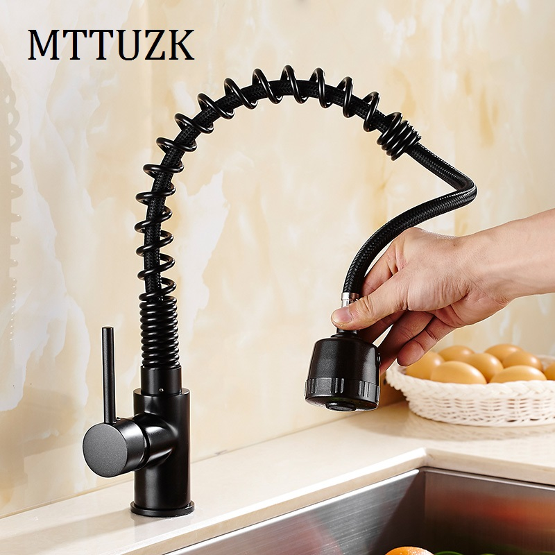 Free Shipping Spring Style pull out and down faucet ORB swivel kitchen sink mixer vessel tap