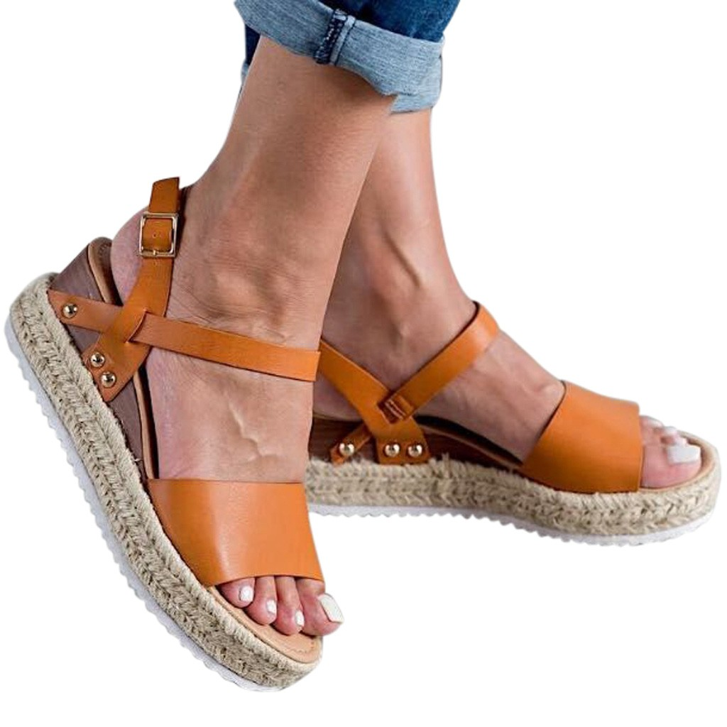 Women's Sandals Wedge Retro-Style Femme Thick-Bottom Solid with Lady Chaussures