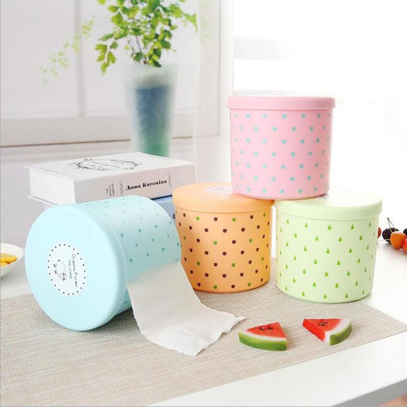 Home Roll Paper Storage Box Living Room Tissue Holder Kitchen Toilet Plastic Roller Paper Case Round Tissue Boxes 3