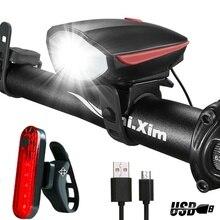 USB Велосипедный свет велосипед фонари для велосипедов Bycicle фонарик фар колокол Luces MTB Bicicleta Велоспорт лампы фонари для Велосипедный спорт