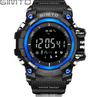 GIMTO Brand Men Sport Digital Watch Waterproof Shock Stopwatch Barometer Pedometer Smart Male Clock Military LED