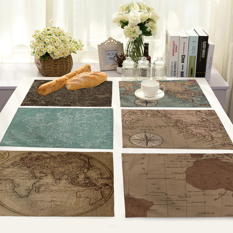 New Washable World Map Printing Cotton Linen Napkin Table Cloth Placemat Mat Pads Home Restaurant Wedding Napkin Placemats