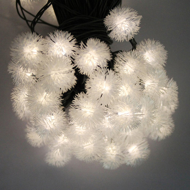 Novelty Snow Flakes Solar LED Fairy String Light Outdoor Waterproof Snowball Party Holidays Wedding Decoration Mariage Solaire
