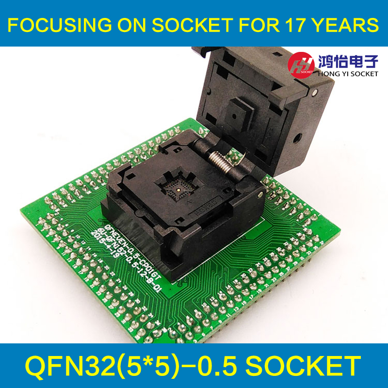 QFN32 MLF32 IC Test Adapter IC550-0324-007-G Programming Socket Pitch 0.5mm Clamshell Chip Size 5*5 Flash Adapter Burn in Socket gp qfn32 0 5 a qfn32 mlf32 adapter enplas ic test socket programming adapter 0 5mm pitch qfn 32 40 b 0 5 02