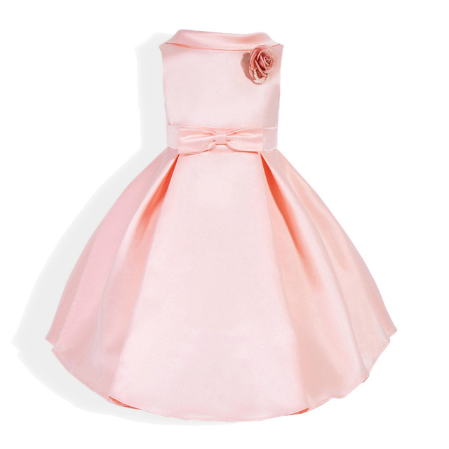 3-7 Years Casual Pink Bowtie Kids Girls Dress Baby Toddlers 3D Floral  Princess Frocks Dress Christmas Clothes Birthday Clothing 21c18d67c9d8