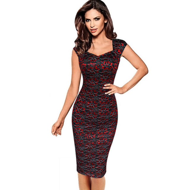 Plus Size 4XL 2017 Summer Dress Womens Elegant Embroidery Flower Vintage Sleeveless Office Casual Pencil Party Dresses