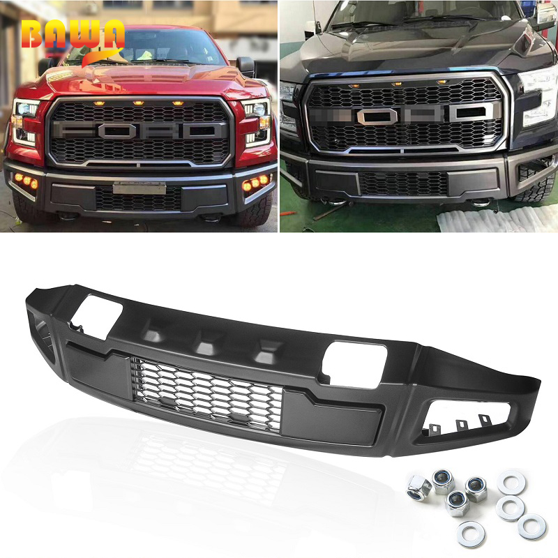 HANGUP ABS And Steel Car Exterior Raptor Front Bumper Grille Trim Decoration Cover For Ford F150 2015 Up Car Styling цена