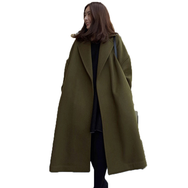 Mode 2018 Survêtement Costume Automne De Femelle Pluse Long Manteau Lâche Veste Green Wuj1018 army Laine Feminino Hiver Femmes Army Thick Green Taille Nouvelle Casaco rZqvwPx8r