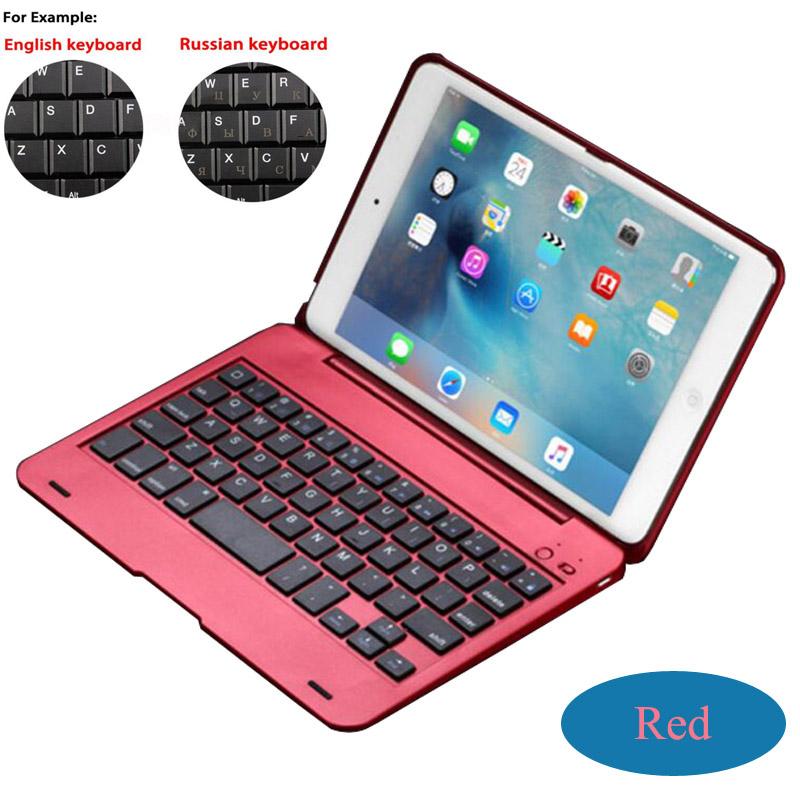 Prix pour Espagnol/Rusian/Anglais/Français/Allemand Prime Sans Fil Bluetooth Clavier Folio Case Smart Cover Pour Apple ipad Mini 4