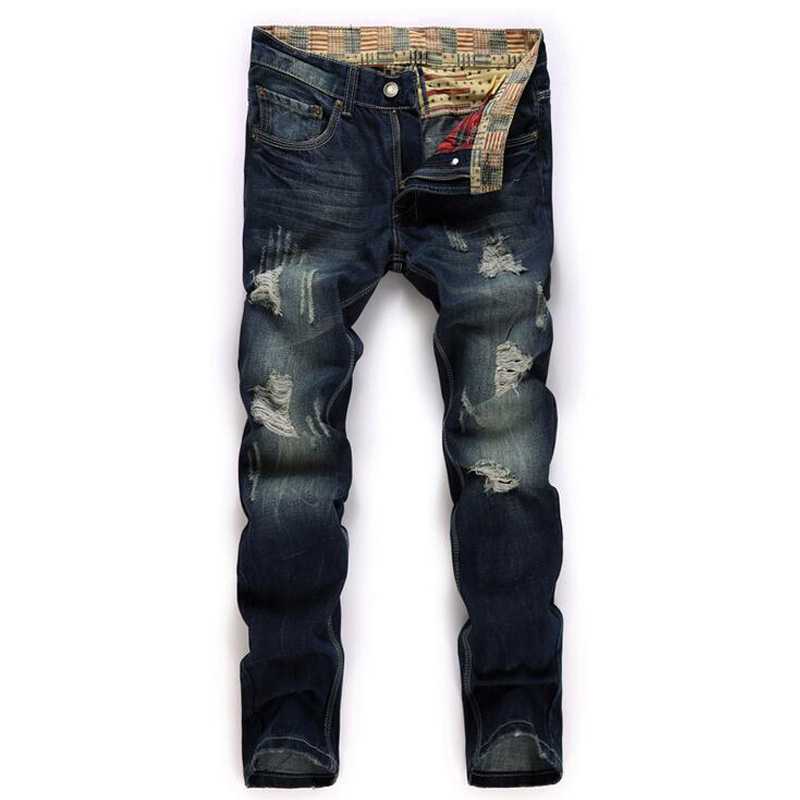ФОТО Men's jeans worn holes straight trousers foreign trade in Europe and America nostalgic denim trousers