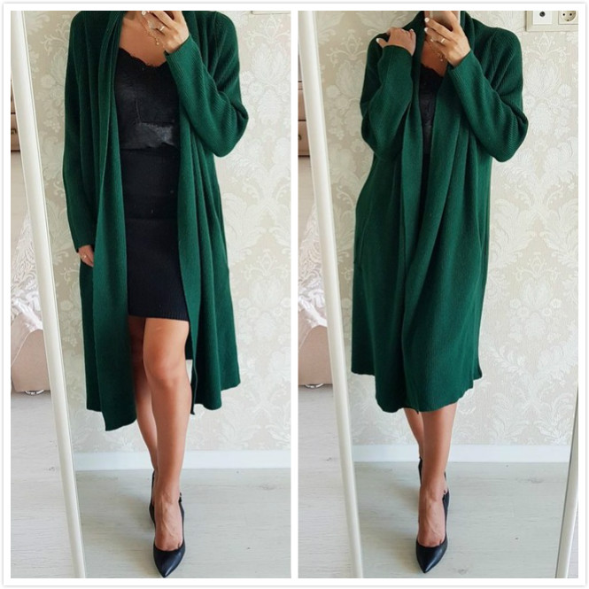 Young17 Autumn Sweater Women 2018 Red Green Long Sleeve Long Casual Plain Slim Cardigan Sweater Women Cardigan Sweater