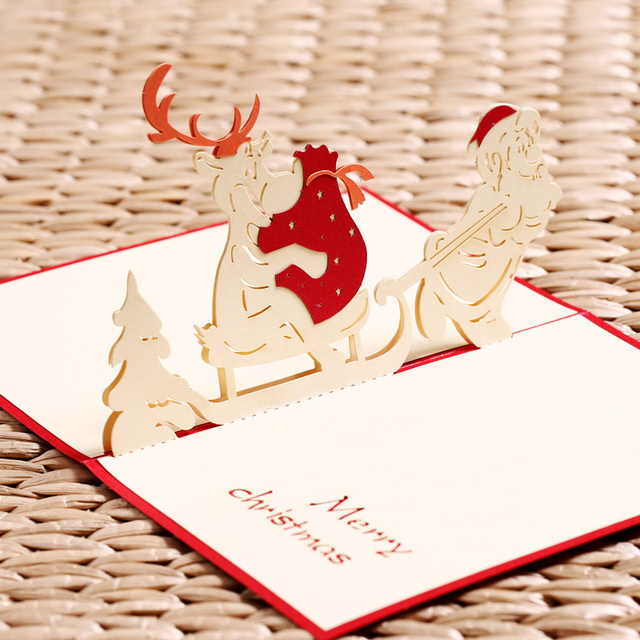 Aliexpress.com : Buy 3d Pop Up Christmas Cards Postcard Animals ...