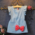 2016 New Kids Baby Girl Petal Sleeve Dress Min nie Mouse Bag Ruffles Demin Bow Decoration Casual Princess Dresses 1-5Y