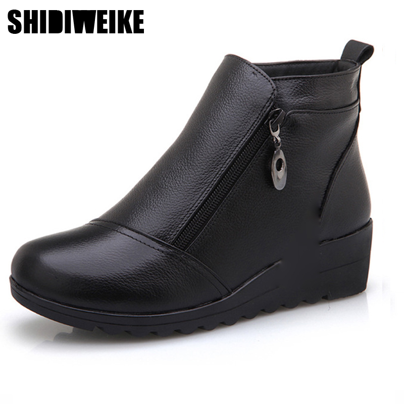 2019 fashion Winter new middle aged women shoes Genuine Leather Plush women' s leather flat mother shoes boots shoe x115