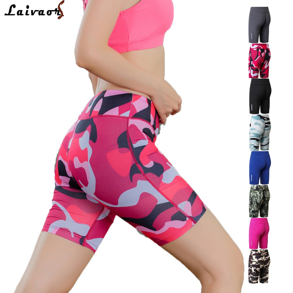 Compression Spandex Running Shorts Women Elastic High Waist XS-XL Athletic Basketball Quick-Drying Jogger Workout Long Shorts ...