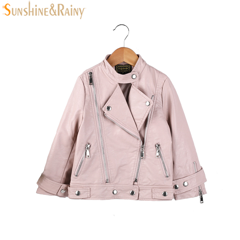 Childrens PU Leather Jackets Boys Spring Girl Leather Coat Girls Autumn Jacket Clothes Kids Motorcycle Jacket Outwear 2-7T