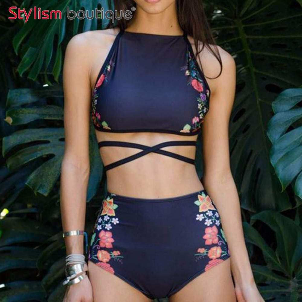 2018 Sexy Floral étnico impreso alta cintura traje de baño Strappy mujeres traje de baño Bikinis de cuello alto Set Halter vendaje traje de baño