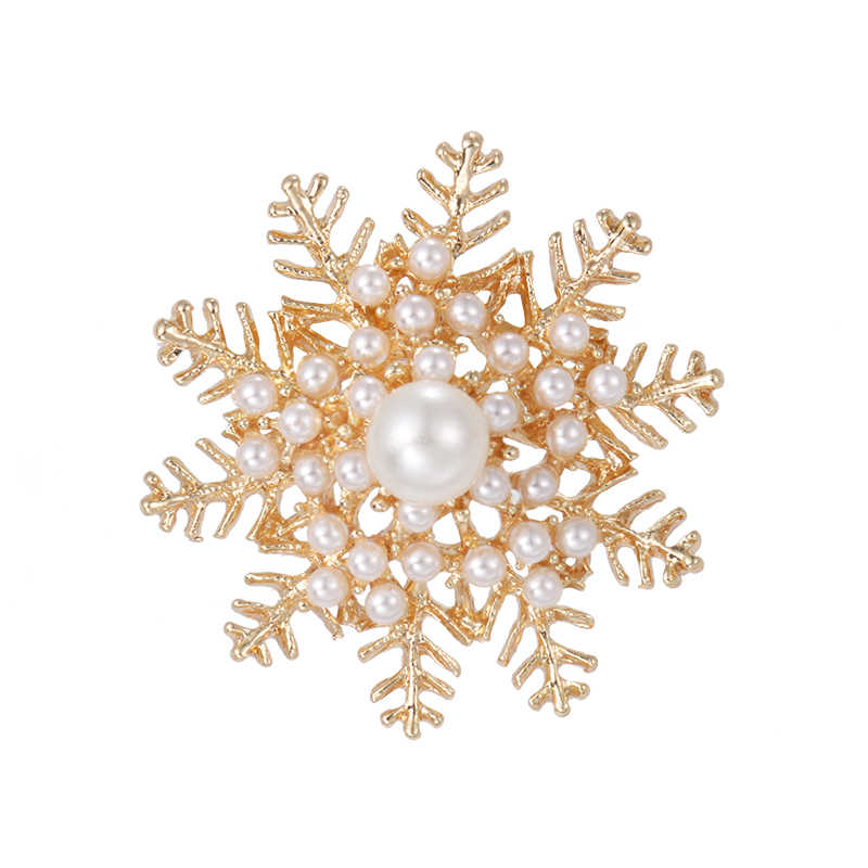 baiduqiandu new arrival simulated pearl snowflake brooch pins for women in gold or silver color xd8856