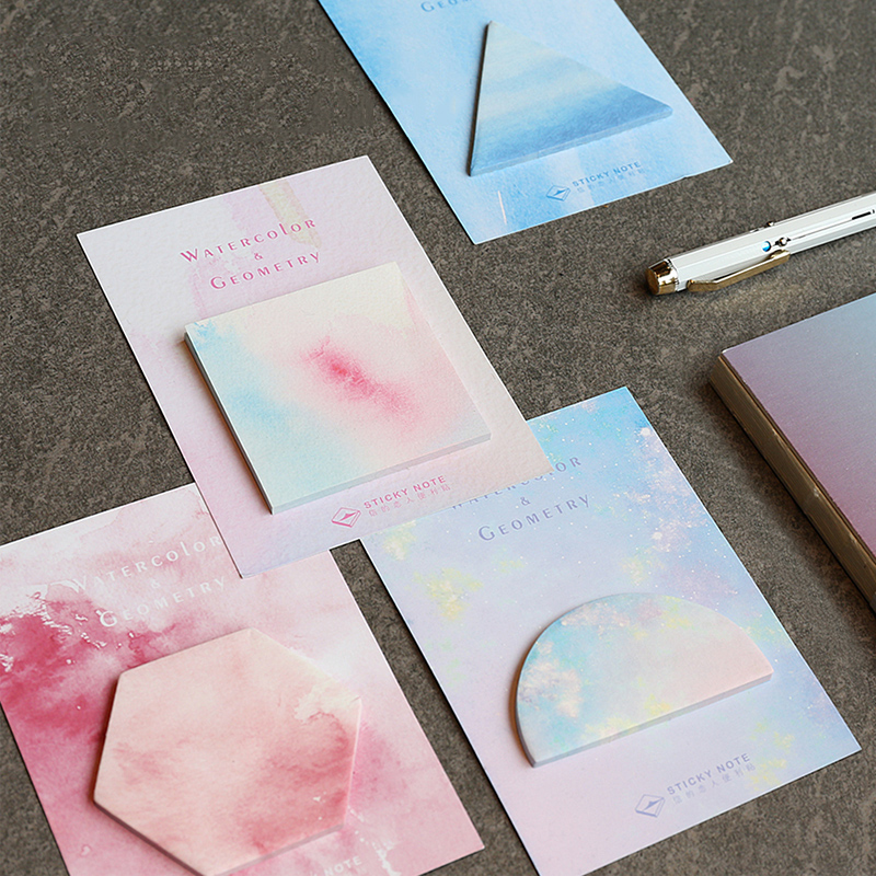 2 PCS (30Sheets/pc)Cute Kawaii Watercolor Memo Pad Creative Geometry Post It Note For Kids Gift Korean Stationery
