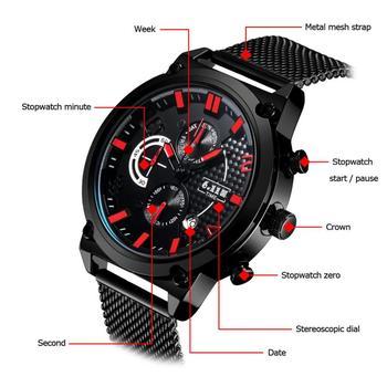 Metal Round Table   6.11 Mens New Fashion Multi-function Metal Mesh With Waterproof  Six-pin Stopwatch Luminous Quartz Watch Men Sport Watch