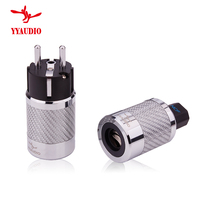 YYAUDIO one pair Hi End Carbon Fiber Rhodium Plated EU Mains Power Connector Female IEC Plug hifi