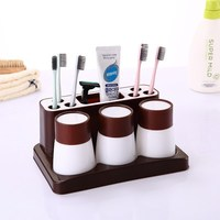 Creative Multifunctional Toothpaste Cup Toothbrush Holder Brush Comb Toothpaste Quality Bathroom Accessories Holders Organizer