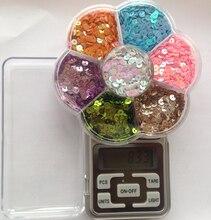 Nuevos 7 colores / set 4 mm Flat Round Loose lentejuelas Paillettes coser Craft boda accesorios de bricolaje para niños con caja transparente