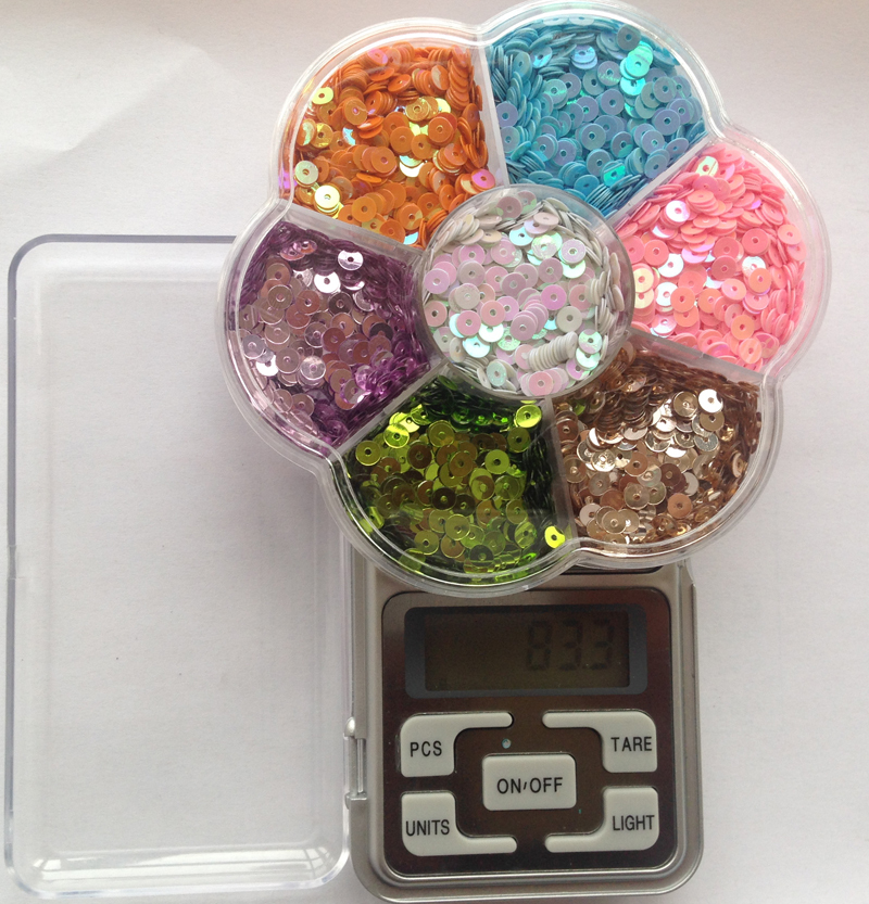 New 7 colors/set 4mm Flat Round Loose Sequins Paillettes Sewing Wedding Craft Kids DIY Accessories with Transparent box