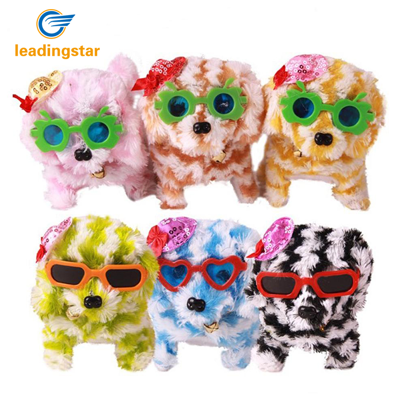 RCtown Interesting Electric Stuffed Striped Toy Dog With Glasses Hat Walk Forward Backward Doll Christmas Halloween Zk15