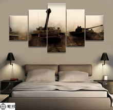 цена на 5 Pieces Military War Tank Arms Poster Modern Wall Art Decorative Modular Framework Picture Canvas HD Printed One Set Painting