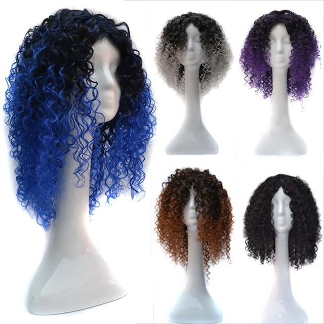 80s Heaver Metal Rocker Kinky Hair Black Gradient Loose Wave Curly Hair Fluffy Unisex Afro Halloween Fancy Dress Accessories
