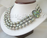 Wholesale >>>Beautiful 3row 13mm gray baroque freshwater pearl necklace abalone shell clasp
