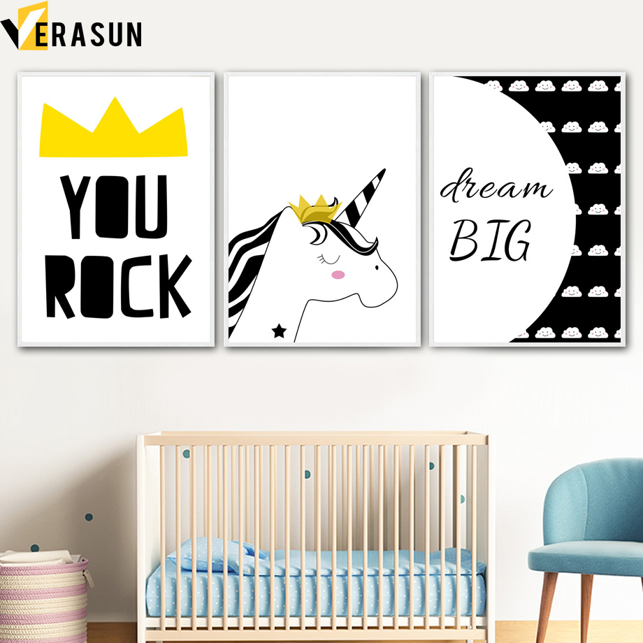 Cartoon Unicorn Cloud Quote Wall Art Canvas Painting Posters And Prints Nordic Poster Pictures Kids Room Decor